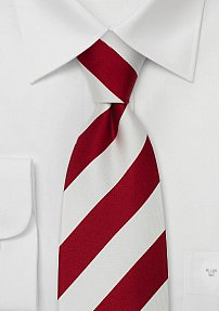 Red & White Striped Silk Tie