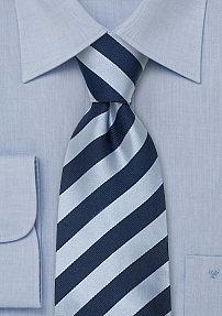Navy Silk Tie With Ice-Blue Stripes