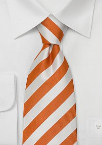 Striped Silk Tie in Orange and Bright White