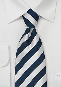 XL Striped Tie in Navy Silver
