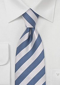 Repp-Stripe Silk Tie in Denim-Blue and Silver
