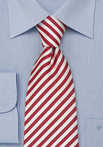 Striped Silk Necktie in Venetian-red & White