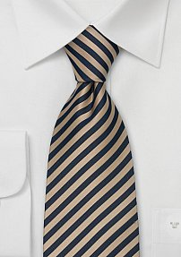 Extra Long Striped Tie Tan Navy