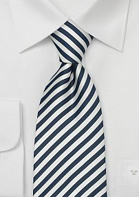 Handmade Silk Tie for Boys in Navy and White
