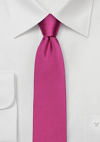 Magenta Pink Skinny Mens Tie in Pure Silk
