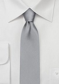 Shiny Satin Silk Skinny Tie in Bright Silver
