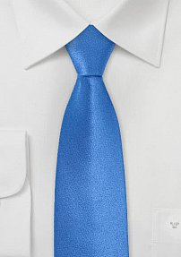 Skinny Satin Silk Necktie in Bright Blue