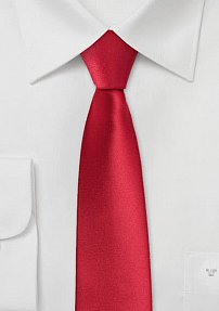Bold Red Skinny Tie in Pure Silk