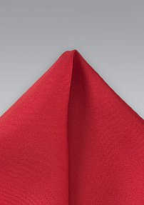 Mens Silk Pocket Square in Solid Red