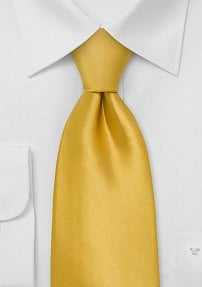 Mens Extra Long Tie Gold-Yellow