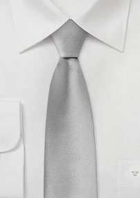 Pure Silk Tie in Silver with Skinny Cut