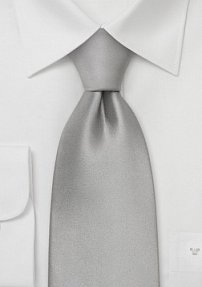 Solid Silver Necktie in 100% Silk