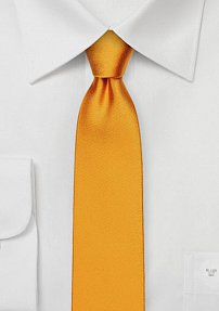 Slim Cut Silk Tie in Amber Orange