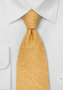 Modern Paisley Pattern Tie in Golden-Yellow