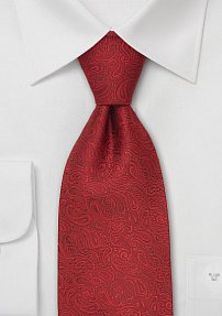 Venetian Red Paisley Design Silk Tie