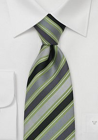 Green and Gray Silk Tie