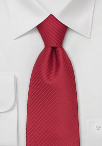 Cardinal Red Necktie With Narrow Stripes