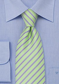 Mint Green Neck Tie With Light Blue Stripes