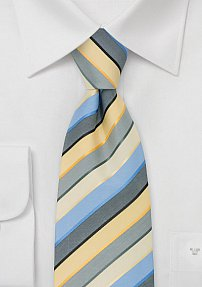 Yellow Blue Gray Striped Tie