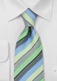 Modern Necktie in Lime, Silver, and Sky-Blue