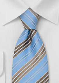 Powder Blue Tie With Tan and Copper Stripes