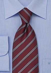 Mens Tie in Dark Burgundy With Light Blue Stripes