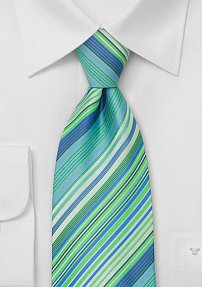 Extra Long Tie in Turquoise, Aqua, Tea-green, and White