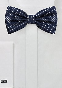 Midnight Bow Tie with Tiny White Dots