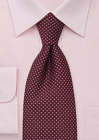 Wine Red and Pink Polka Dot Tie in XL