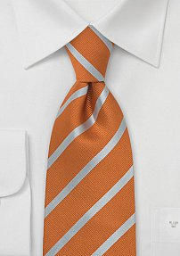 Silk Tie in Burned-Orange and Periwinkle-Silver
