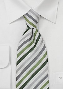 Modern Striped Tie in White, Silver, Gray, and Green