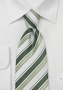 Moss Green and White Silk Tie
