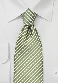 Striped Tie in Light Green and White