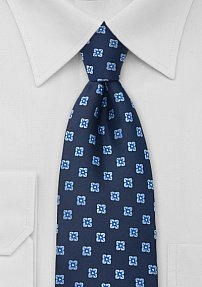 Navy Blue Necktie With Light-Blue Blossoms