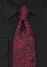Mens Paisley Tie in Burgundy-Red and Black