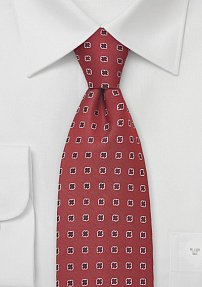 Red Designer Tie With Tiny Shamrocks