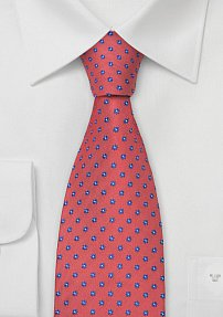 Coral Red Designer Tie With Blue Flowers