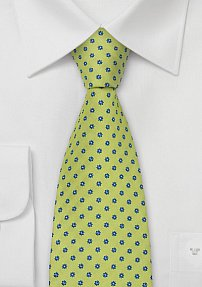 Lime-Green Designer Tie With Flower Pattern