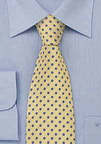 Yellow Designer Tie with Floral Pattern