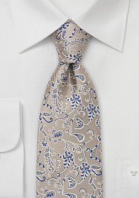Elegant Silk Tie in Champagne and Blue