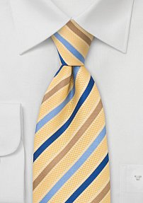 Golden-Yellow Silk Tie wiht Light Blue and Tan Stripes