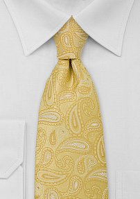 Modern Paisley XL Tie in Yellow