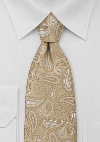 XL Paisley Neck Tie in Golden Tan
