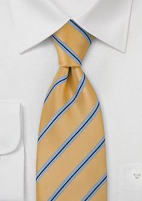 Yellow Tie with Light Blue Stripes