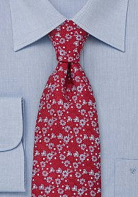 Designer Silk Tie in Red Light Blue