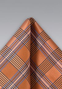 Modern Plaid Handkerchief in Orange