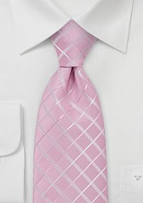 Light Pink Tie with Check Pattern