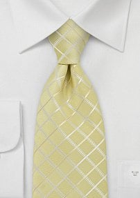 Pastel Yellow Check Pattern Tie in XL Length