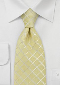 Pastel Yellow Check Pattern Tie