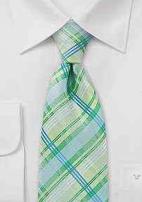 Checkered Tie Green Turquoise